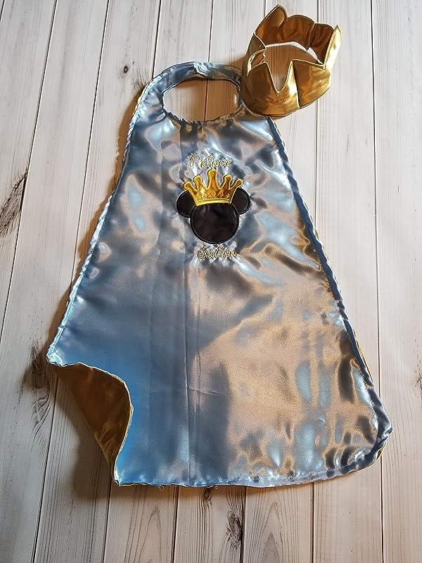 Prince Mickey Light blue silver 1st 2nd birthday photo prop crown satin cape