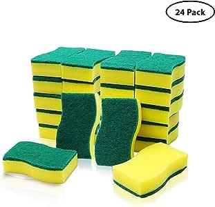 Estropajos Cocina (24 Pcs) - Esponja Limpieza (11x6cm) - Esponja Fregar Multipropósito Dos Lados para Lavar Platos, Eliminar Manchas en Cocinas & Baños: Amazon.es: Hogar