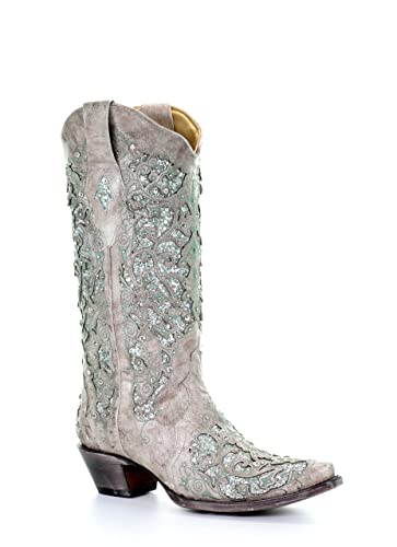 3cc03754b71 Corral Women's 13-inch White/Green Glitter Inlay & Crystals Pull-On Cowboy  Boots - Sizes 5-12 B (8.5 B(M) US, Bone)