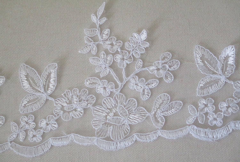 craftuneed Pizzo Bianco in Tulle con Motivo Floreale Bianco Ricamato da Sposa 90 cm