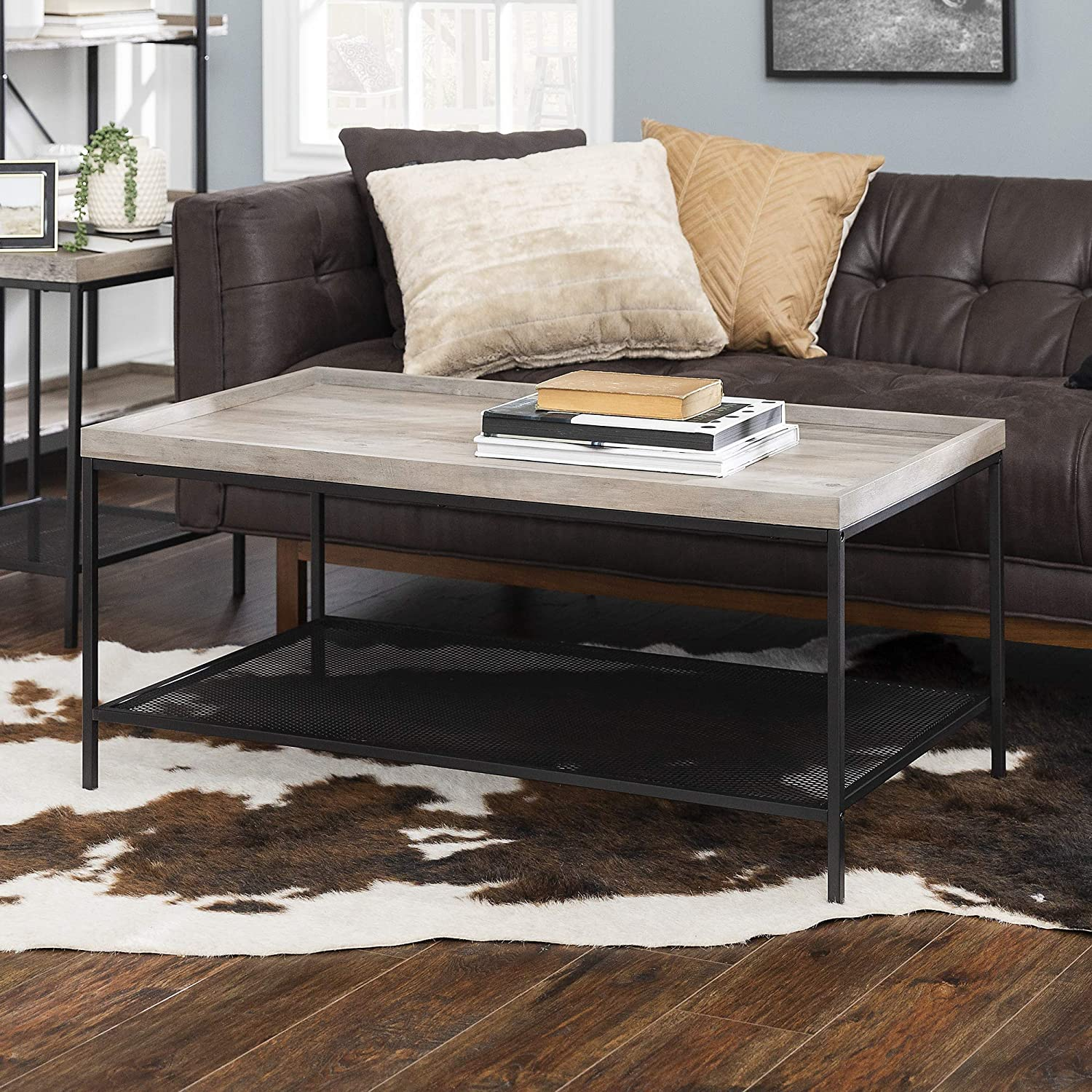 Walker Edison Furniture Industrial Coffee Accent Table Living Room Rectangle, 42 Inch, Grey