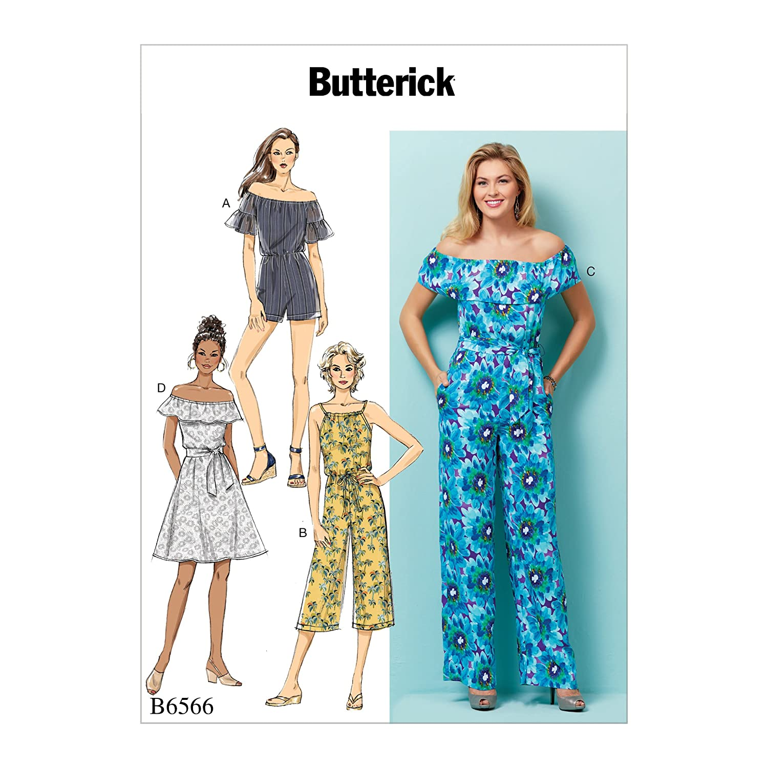 Butterick Patterns 6566 Y Sizes X-Small-Medium Misses' Petite Dress/Romper/Jumpsuit and Sash, Tissue, Multi-Colour, 17 x 0.5 x 22 cm The McCall Pattern Co B65660Y0
