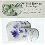 OF THE EARTH Purple Heart Shape Seed Embedded Blue Larkspur Handmade Paper, Large, Set of 48 Tags