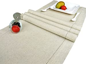 CottonLin Pack of 2 Flax by Flax Table Runner 16x108 Natural Hemstitched Dinner Tablecloth in Natural & Premium Linen Look, Flax-Cotton Blend for Home Décor, Farmhouse, Indoor & Outdoor Dining
