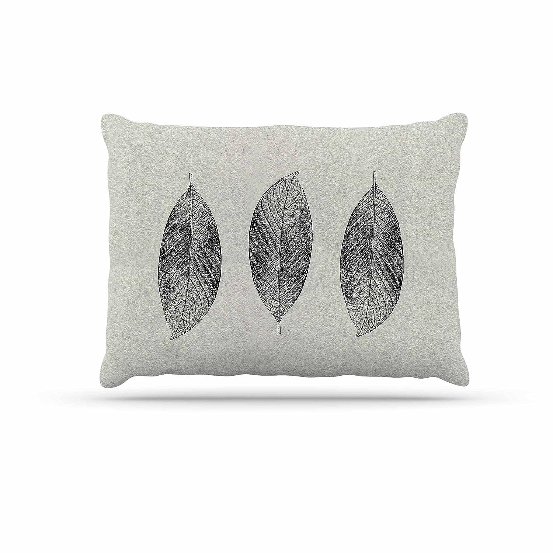 KESS InHouse Julia Grifol Three Leaves Black Grey Nature Dog Bed, 30  x 40