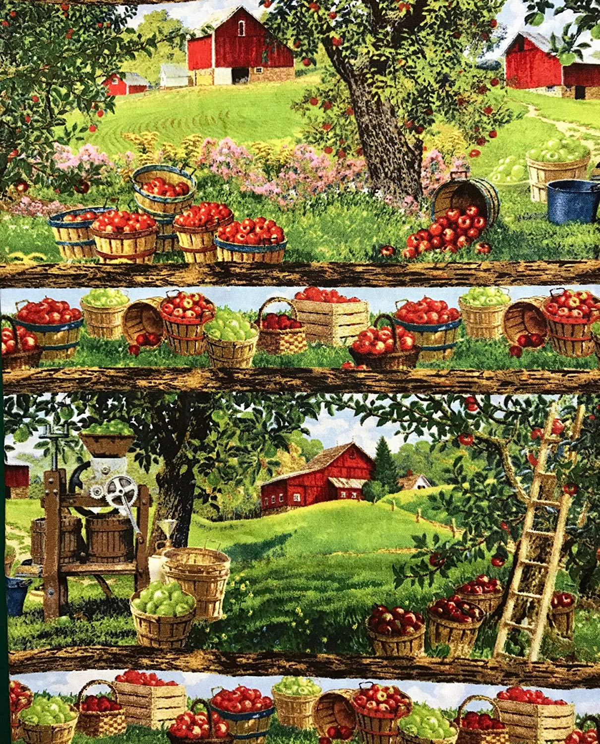 "1 Yard - An Apple a Day Repeating Scenic Farm Cotton Fabric (Great for Quilting, Sewing, Craft Projects, Throw Pillows & More) 1 Yard X 44"" Wide"