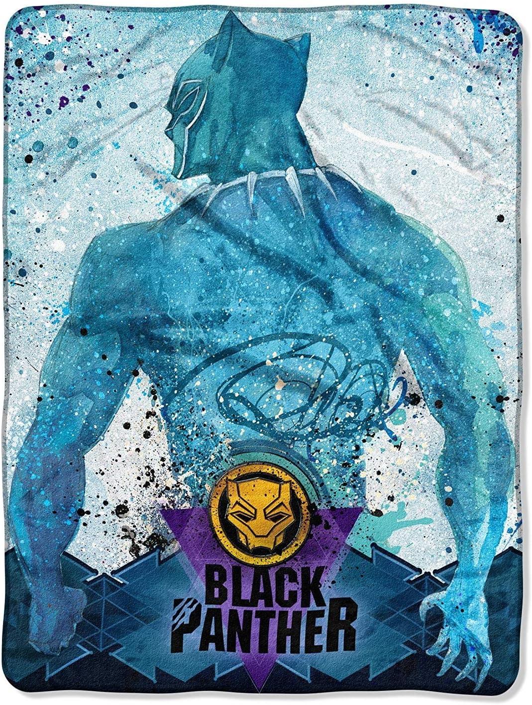 Kids Warehouse Black Panther Icon Splatter Super Plush Throw 46 by 60