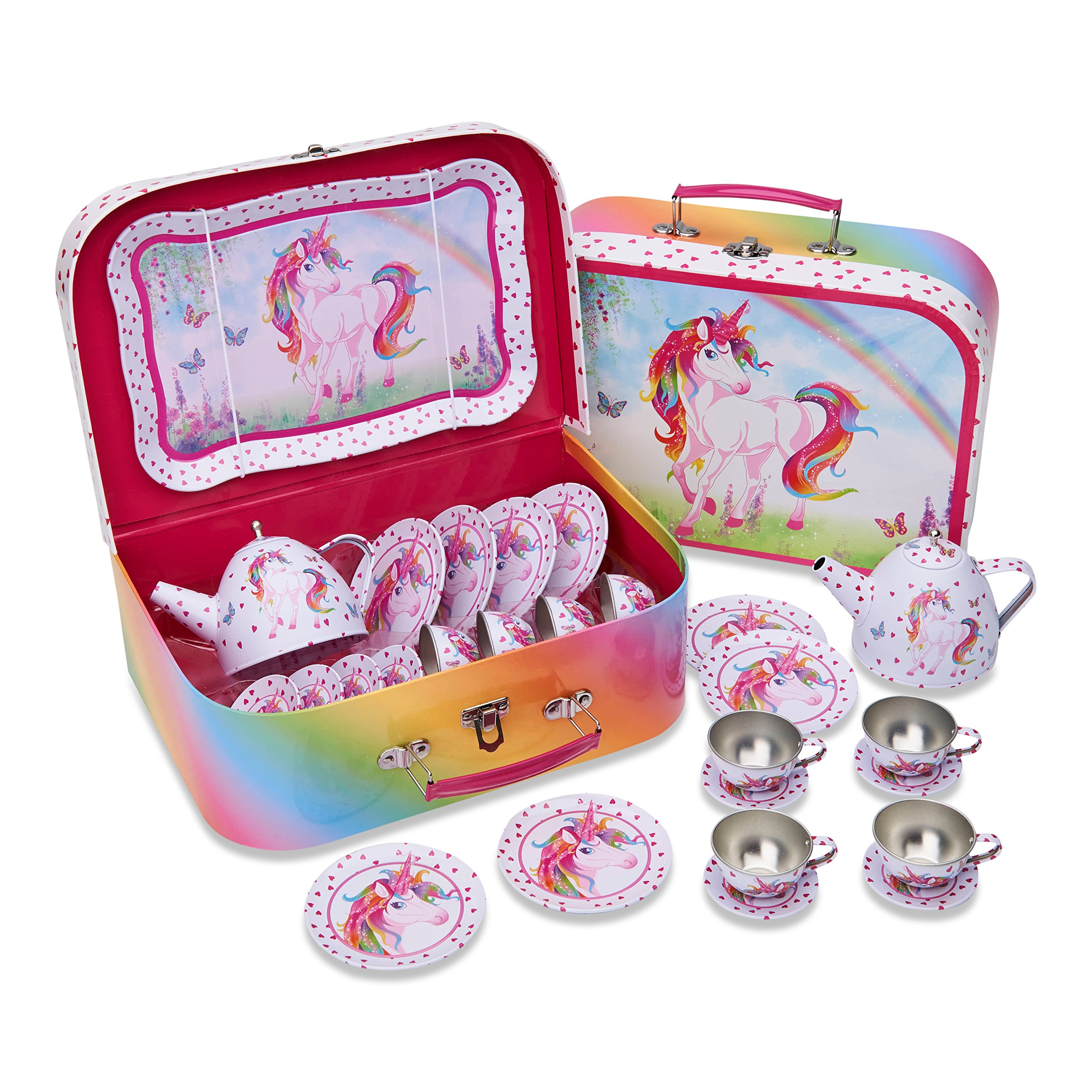 Lucy Locket Magical Unicorn Kids Tin Tea Set & Carry Case (14 Piece Tea Set for Kids)