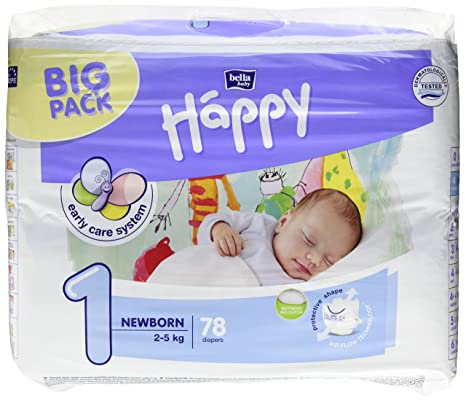 Bella Baby Happy pañales grande 1 – Newborn, 2 – 5 kg, 1er Pack