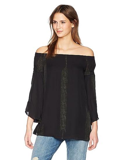 7194d9d670909e Amazon.com: Halston Heritage Women's Off Shoulder Flowy Sleeve Printed Top:  Clothing
