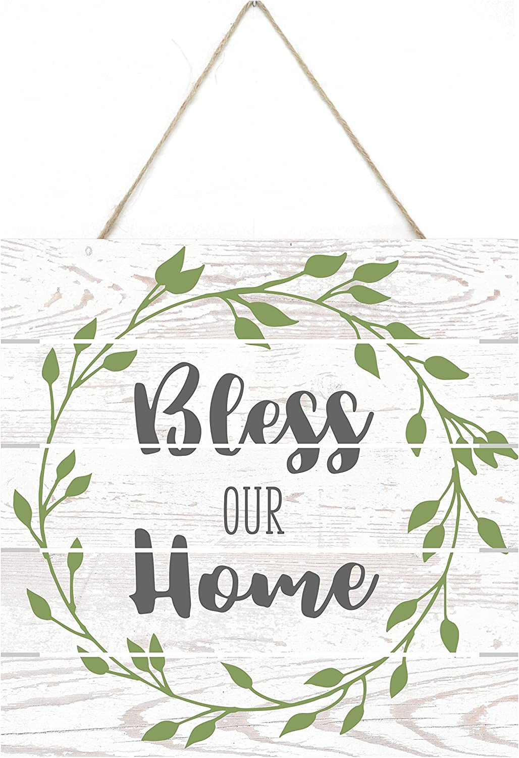 Bless Our Home Floral Wreath Wooden Plank Sign 8x8