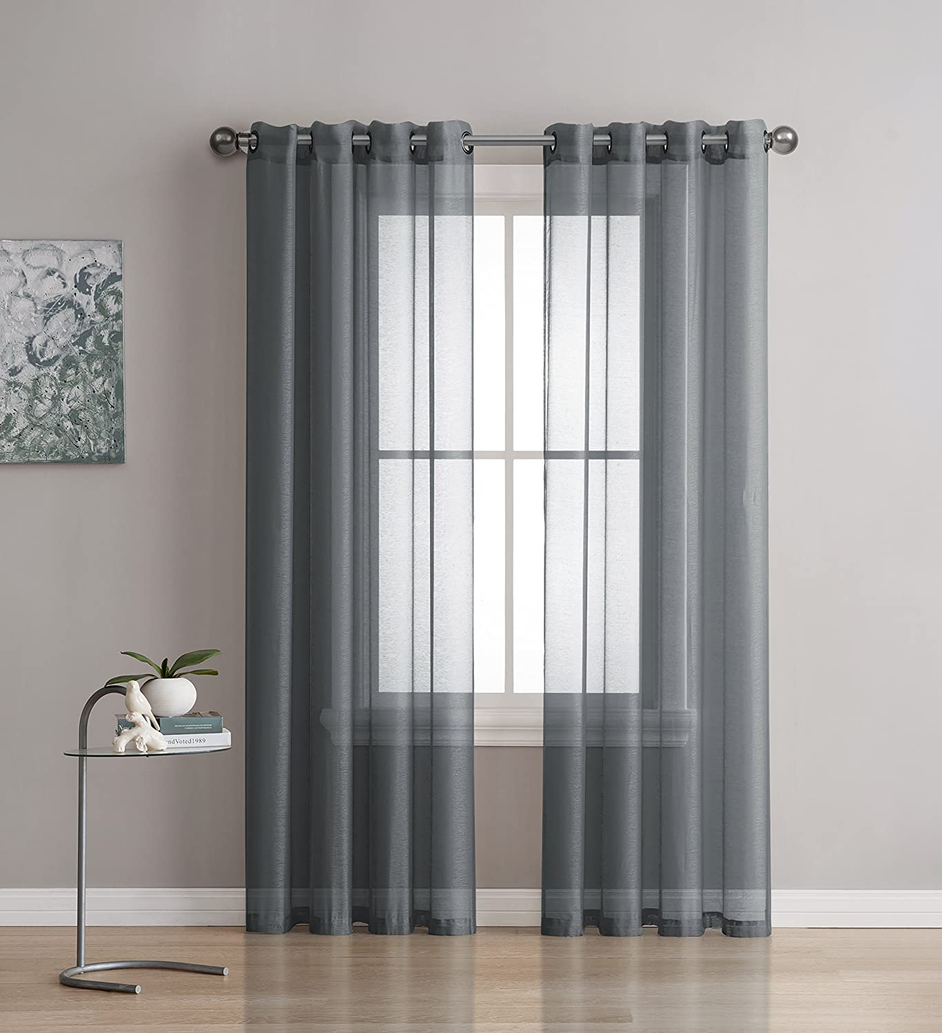 Grommet Semi-Sheer Curtains - 2 Pieces