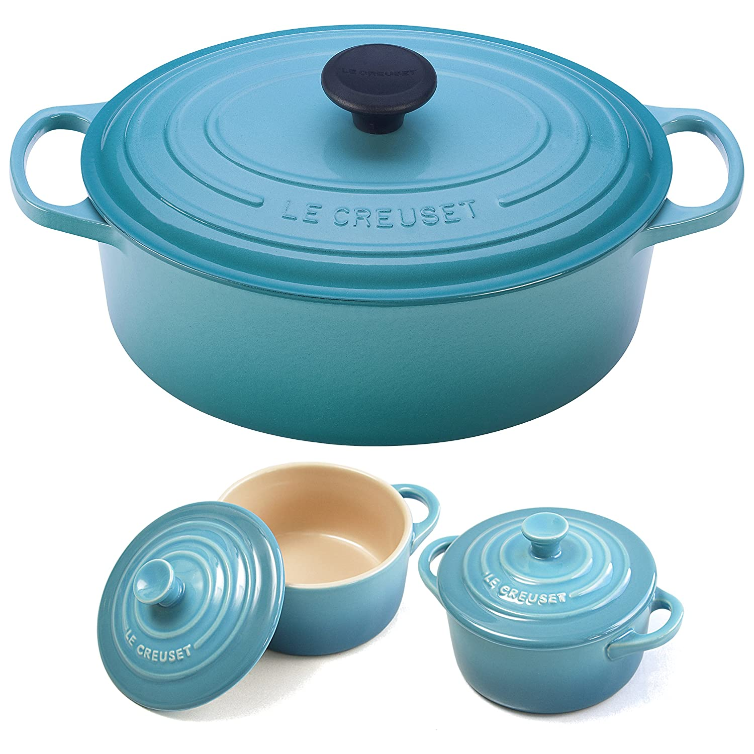Le Creuset Signature Caribbean Enameled Cast Iron 5 Quart Oval French Oven with 2 Free Stoneware Cocottes