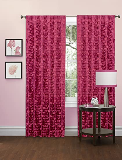 Lush Decor Gigi Single Window Curtain Panel, 63 x 50, Pink