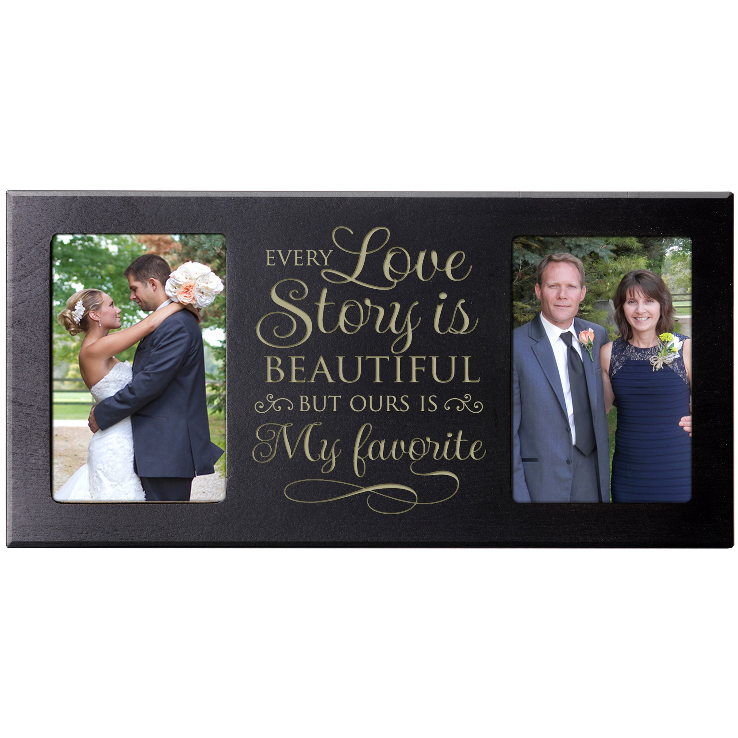 LifeSong Milestones Parent Wedding Gift,Wedding Photo Frame, picture frame gift for Bride and Groom for parents Every Love Story is Beautiful 16'' L x 8'' H from (Black)