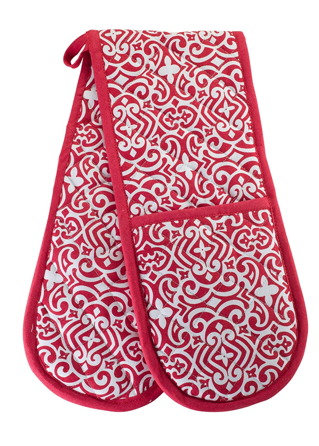 KreativeKitchenry Smart Home, Pretty Red Swirls, 1 Piece, Long Double Oven Mitts Gloves, Heat Resistant, 100% Cotton, Extra Thick, Quilted