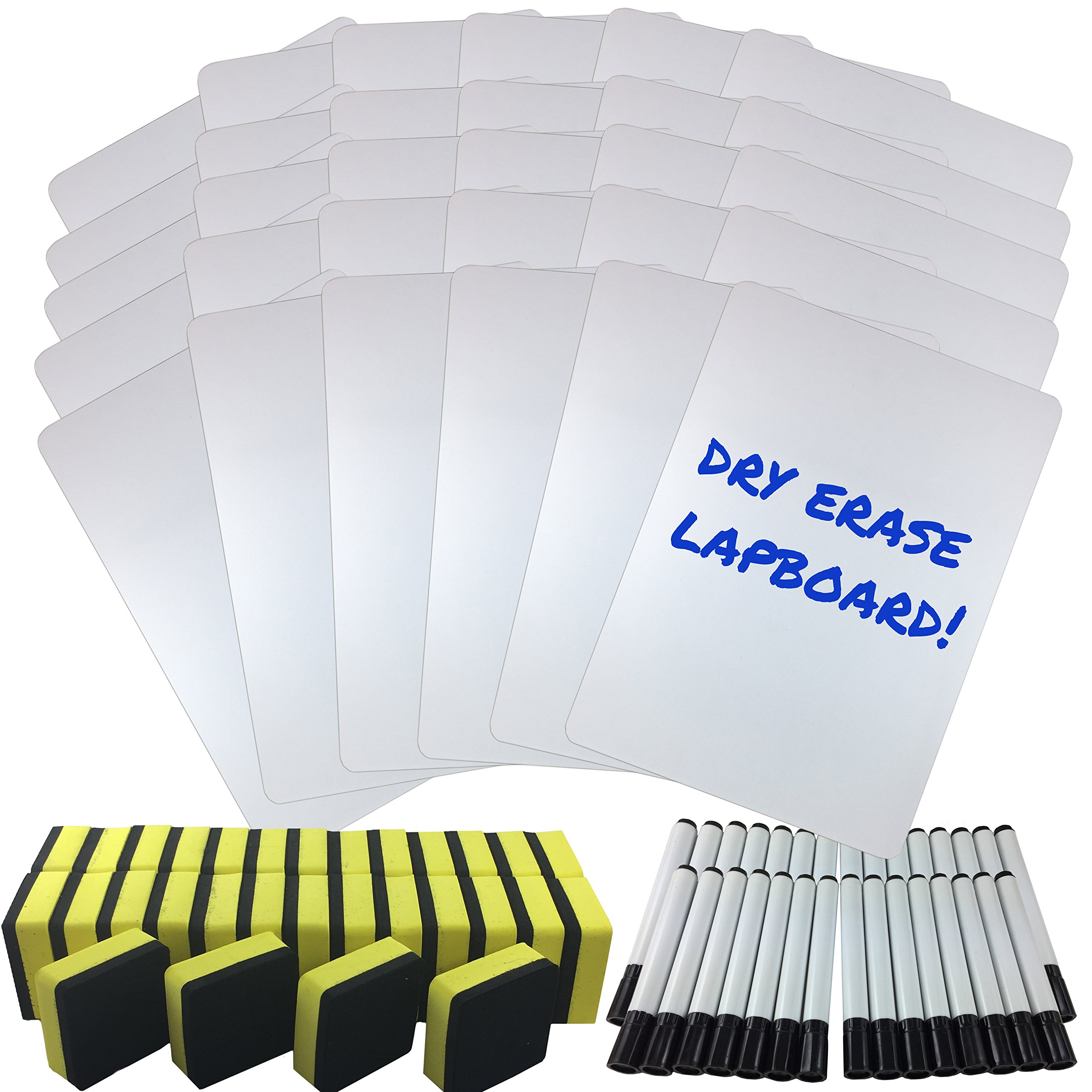 Dry Erase Lapboard Classroom Kit, Set of 30 Whiteboards, Black Dry Erase Markers and 2'' x 2'' Erasers