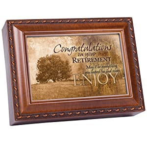 Cottage Garden Congrats On Your Retirement Enjoy Woodgrain Rope Trim Jewelry Music Box Plays Wonderful World