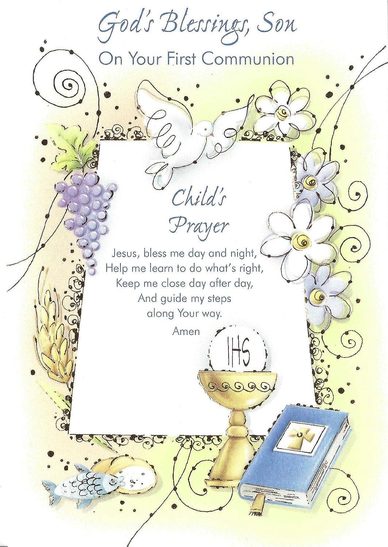 La bendición de Dios, Hijo en su primera Comunión tarjeta de ...