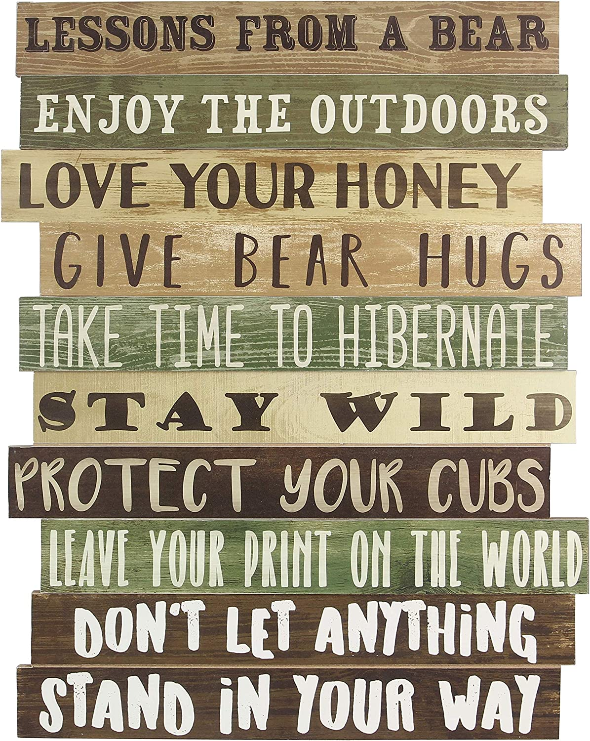 youngs Inc Wood Lesson from a Bear Wall Sign, Multi