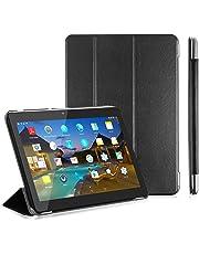 """LNMBBS Funda para Tablet de 10"""" Flip Cover de PU Cuero y Cáscara Trasera de acrílico, para YOTOPT 10.1 / BEISTA 10.1 / SUMTAB10.1 / SANNUO 10.1 Tablet (Negro)"""