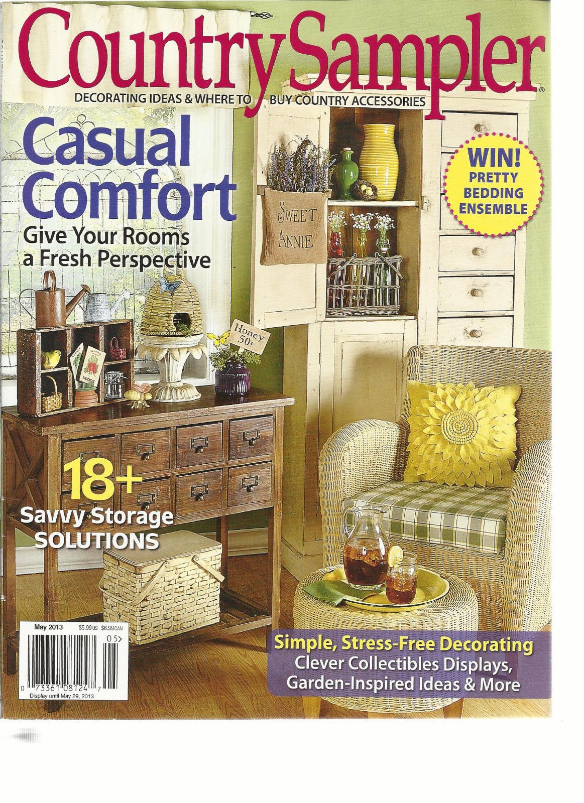 COUNTRY SAMPLER, MAY, 2013 (DECORATING IDEAS & WHERE TO BUY COUNTRY ACCESSOR
