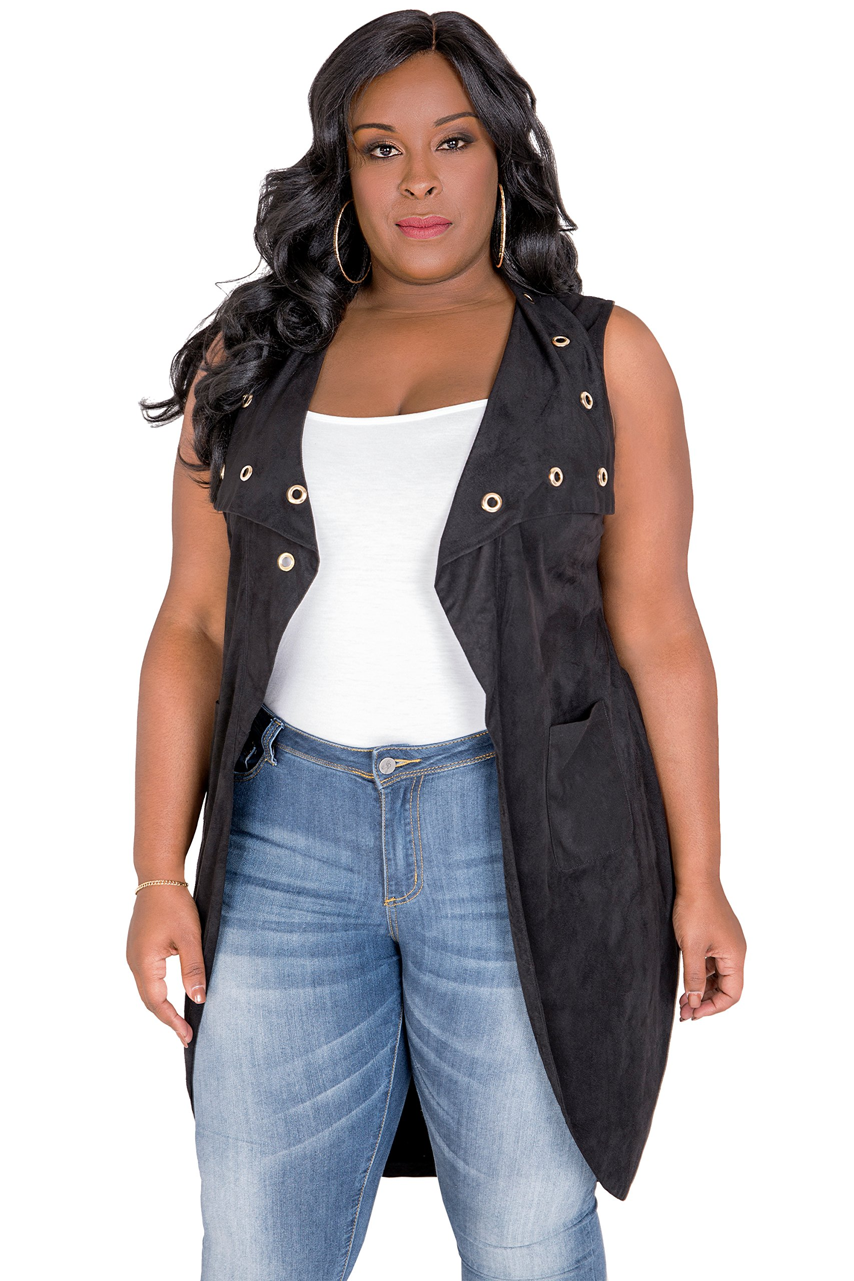 Poetic Justice Plus Size Women's Curvy Fit Black Suede Sleeveless Grommet Lapel Duster Coat Size 2X