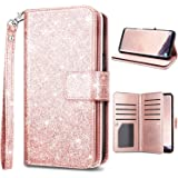 Samsung S9,Galaxy S9 Wallet Case,Fingic Luxury Glitter Wallet Case Nickel Plated Press Stud[Cash Holder][Wrist Strap][Magnetic Snap Closure] Protective Cover for Samsung Galaxy S9 (5.8inch),Rose Gold