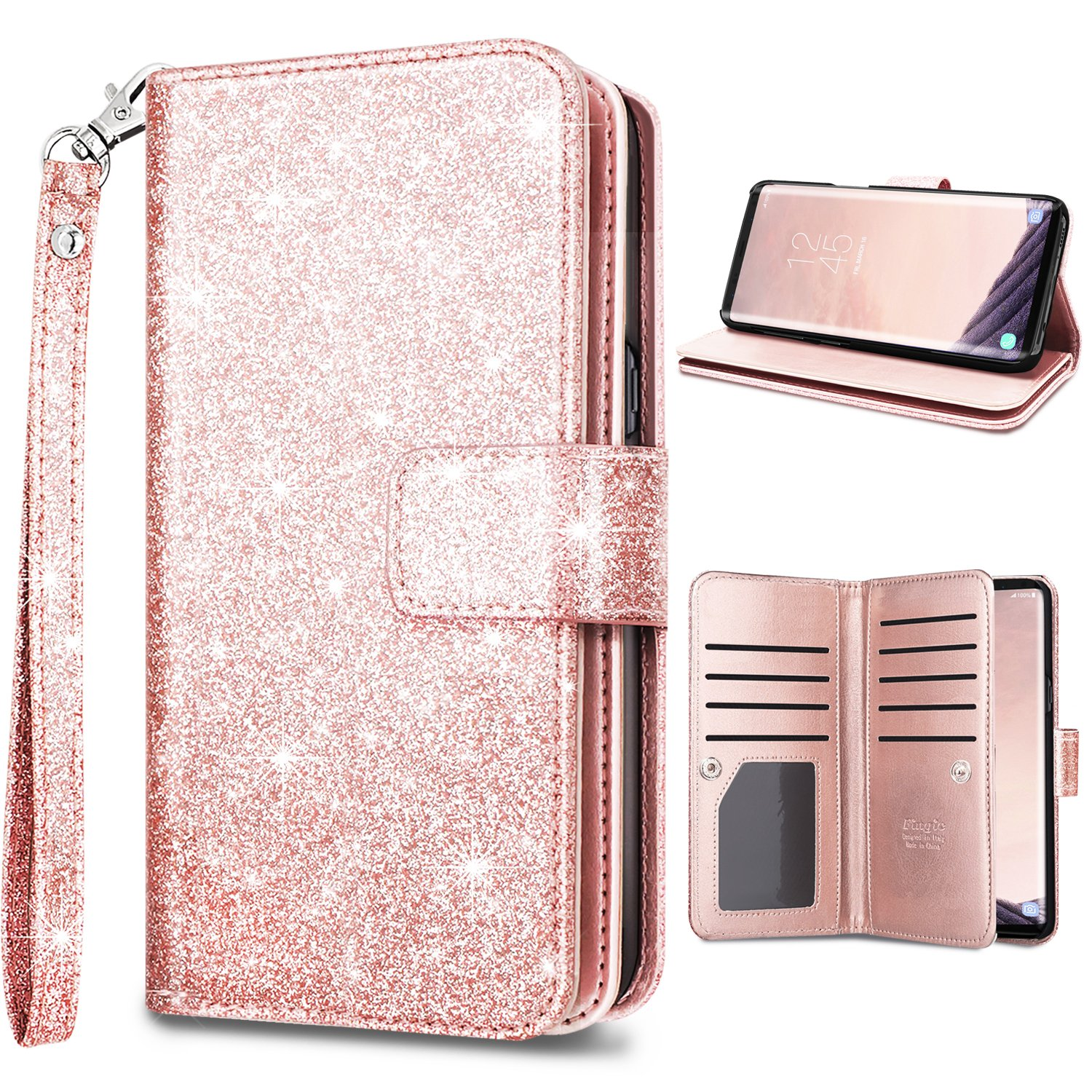 S9 Plus Wallet Case, Galaxy S9 Plus Case, Fingic Glitter Sparkle Cover 9 Card Holder PU Leather Detachable Wrist Strap Wallet Case for Women Cover for Samsung Galaxy S9 Plus (6.2 inch), Rose Gold