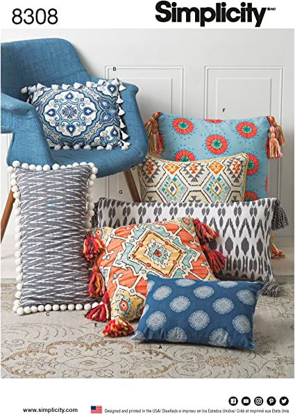 One Size Only Simplicity Throw Pillow Cover Sewing Patterns