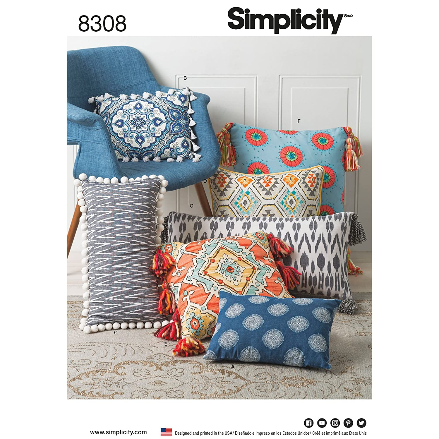 ONE Size Paper White 22 x 15 x 1 cm Pillows Simplicity Pattern 8308 OS