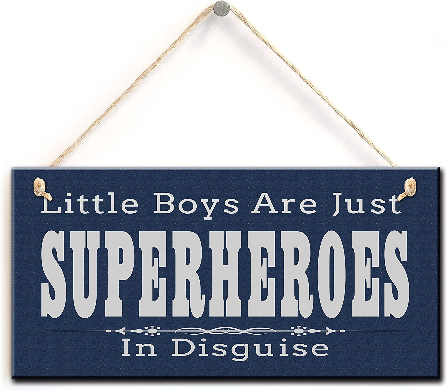 """zhongfei Little Boys are Just Superheroes in Disguise, Superheroes Kids Room Decor Sign Plaque (5"""" X 10"""")"""