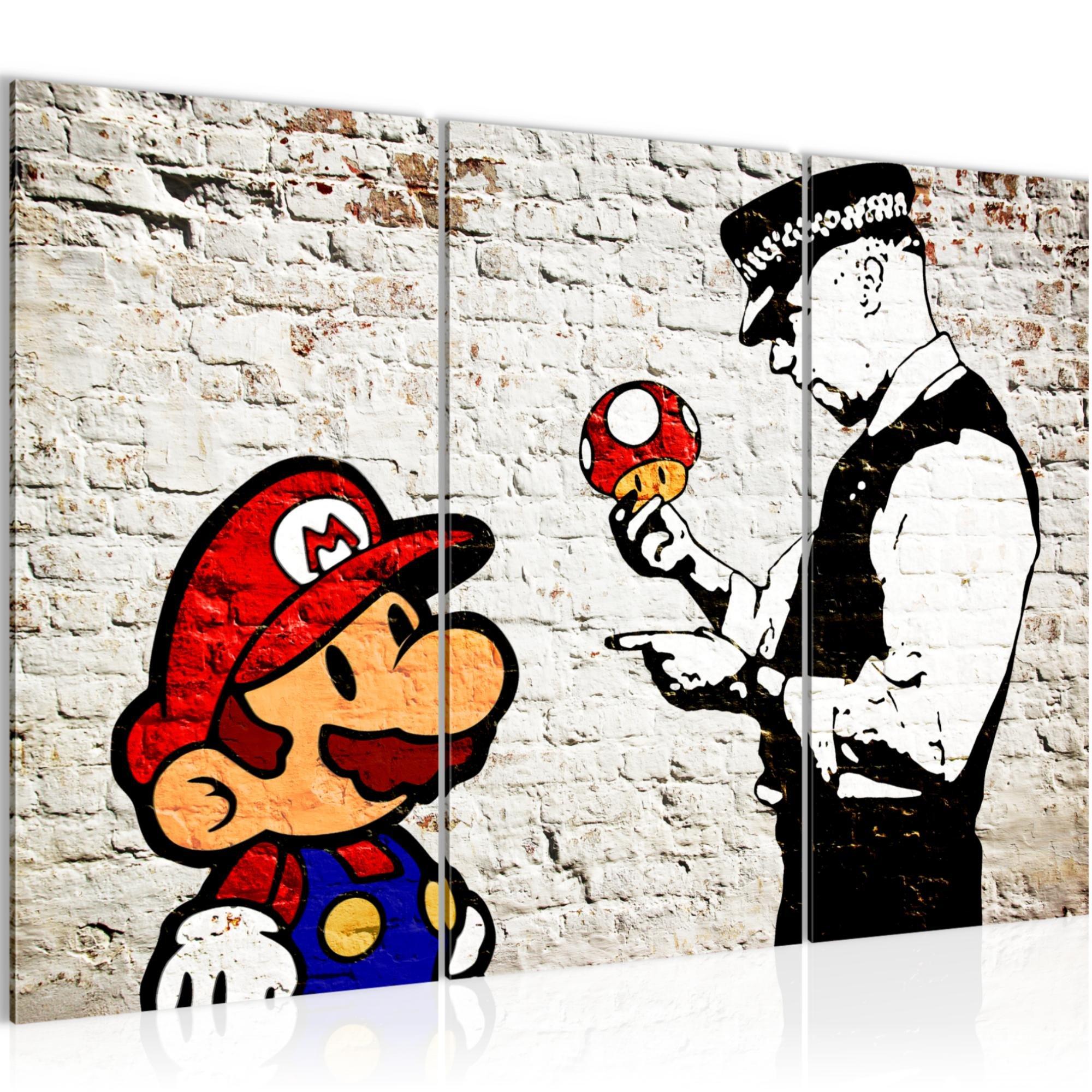 Bilder Mario And Cop Banksy Ziegel Mauer Wandbild 120 X 80 Cm Vlies    Leinwand Bild