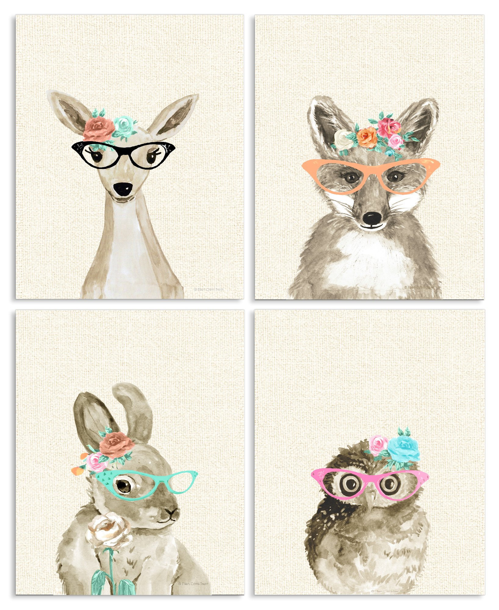 Stupell Industries Woodland Critters with Cat Eye Glasses 4pc Wall Plaque Art Set, 10 x 0.5 x 15, Proudly Made in USA