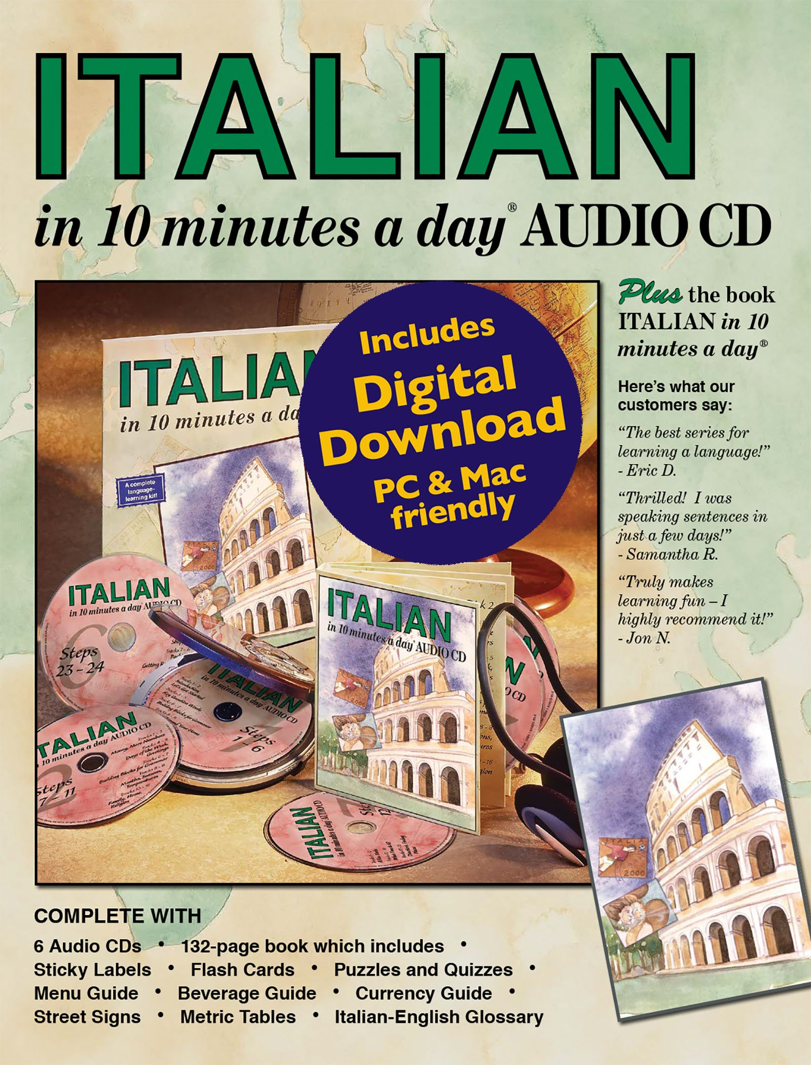 ITALIAN in 10 minutes a day® AUDIO CD. by Brand: Bilingual Books, Inc.