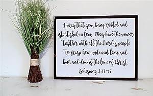 EricauBird Wood Sign-Scripture Sign,Ephesians 3,Living Room Wall Decor,Bible Verse Wall Decor,Inspirational Wall Art,Bible Verse Sign,Christian Sign, Home Wall Art, 16x20