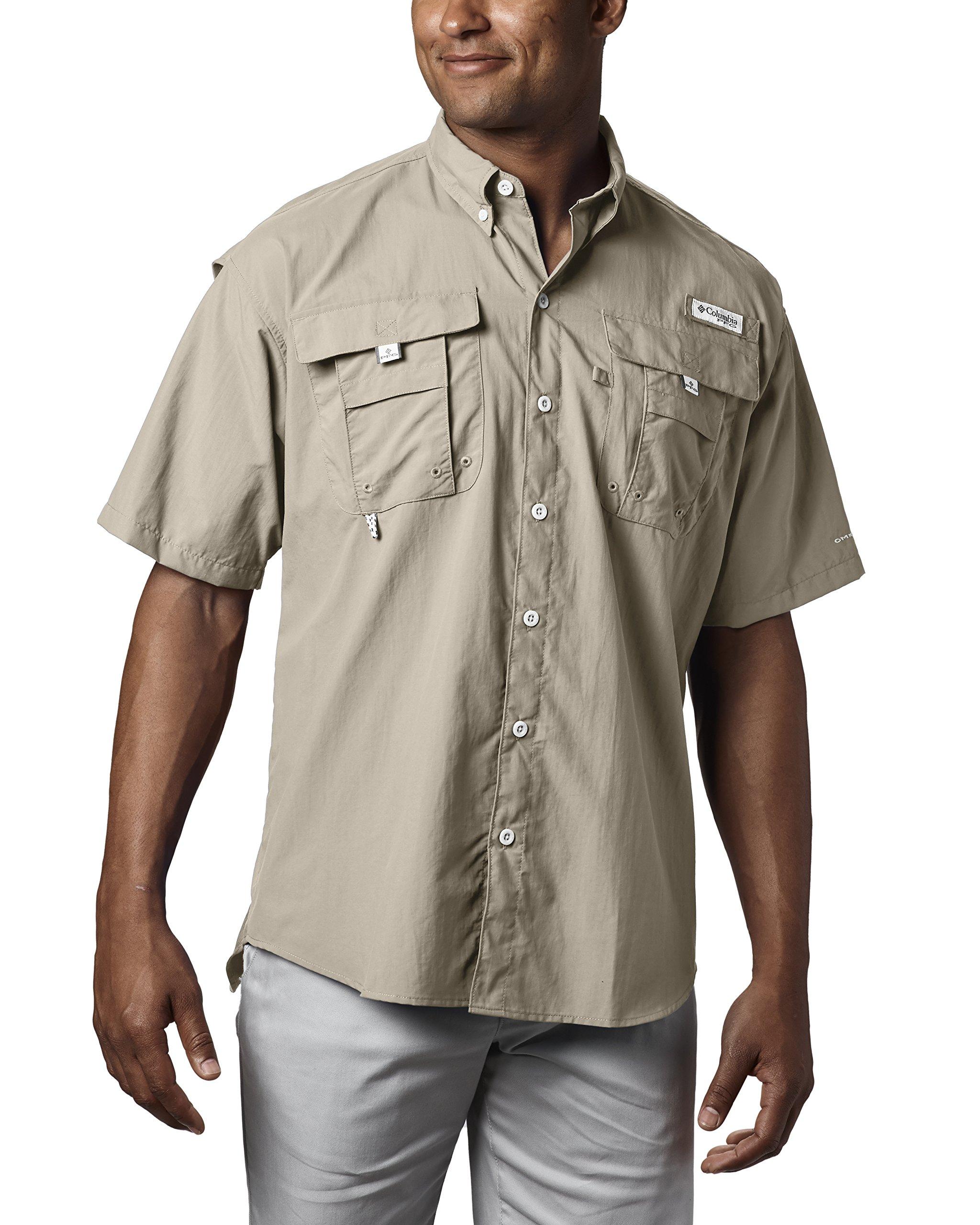 Columbia Men's Bahama II Short Sleeve Shirt, Fossil, 2X Tall