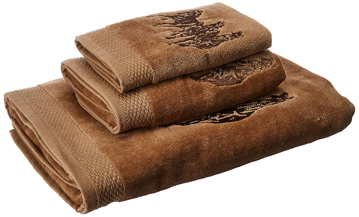 HiEnd Accents 3-Horse Embroidered Western Towel Set, Mocha