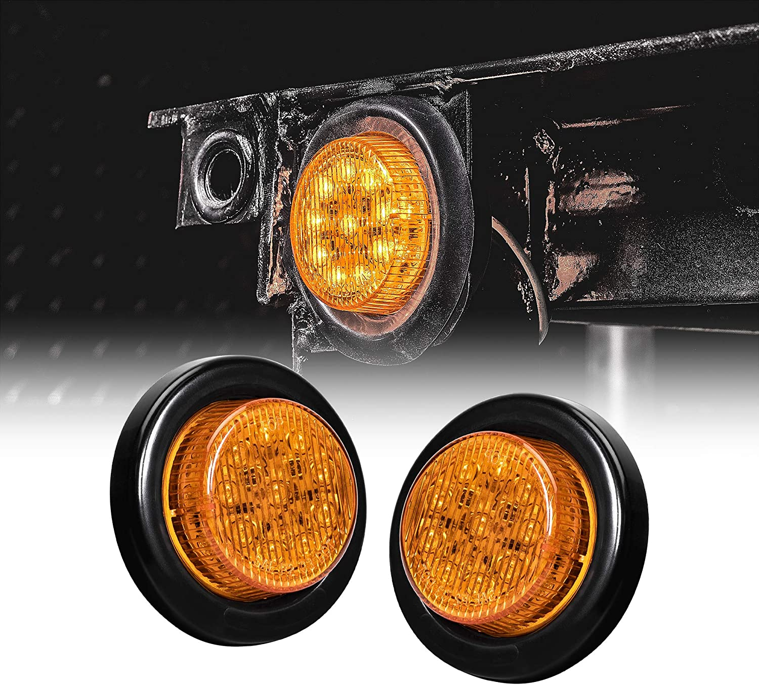 """2PC OLS 2.5/"""" Round Amber 13 LED Clearance Light 2 in 1 Reflector for Trucks"""