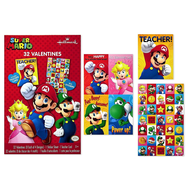 Amazon Com Hallmark Nintendo Valentines Day Cards For Kids Mario