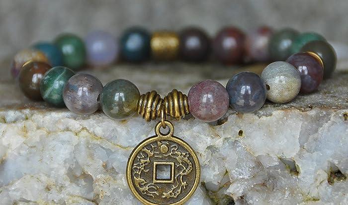 Amazon.com  Indian Agate, Lucky Coin Gemstone bracelet,Good Luck ... 9844c227a1d