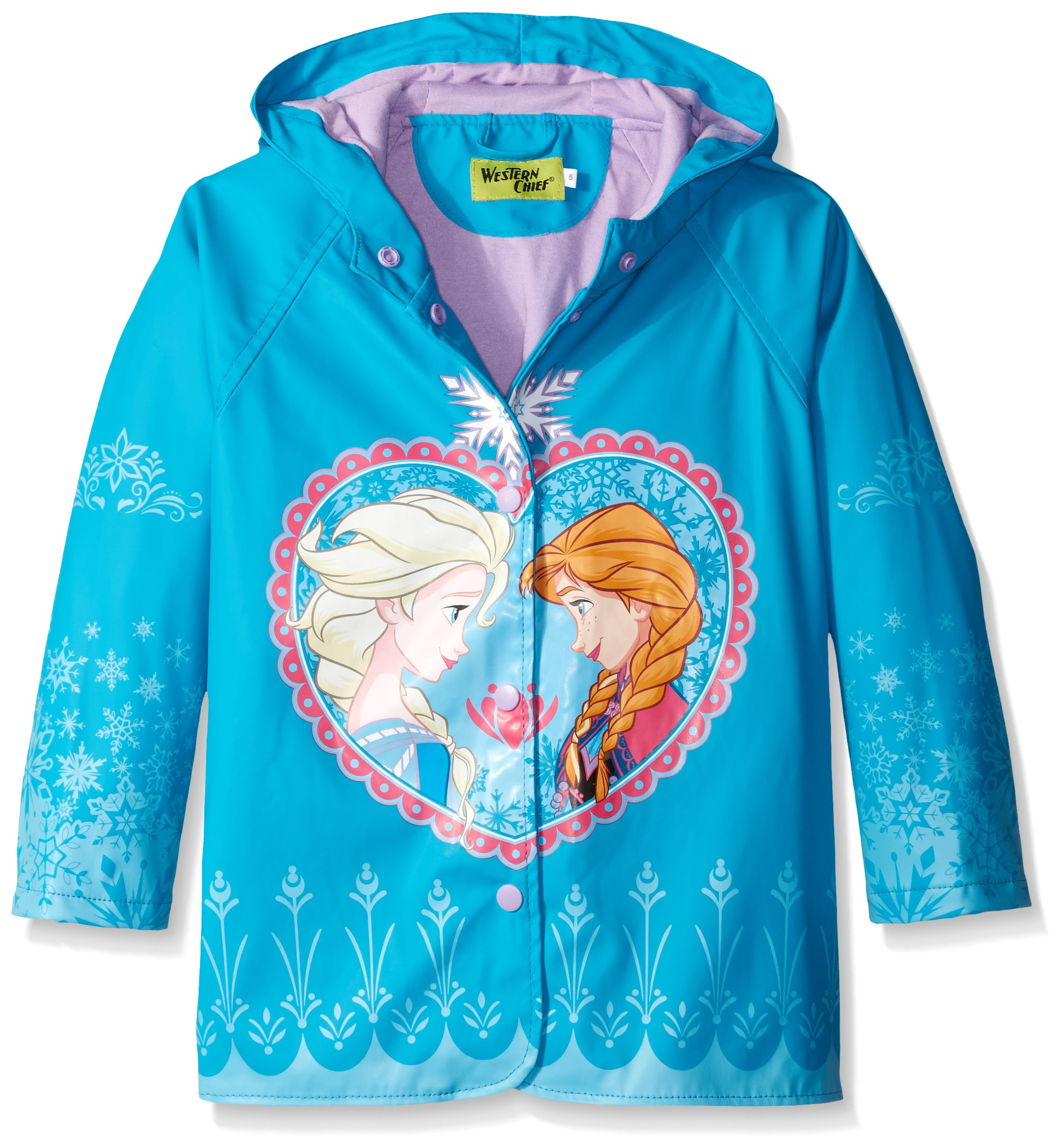 Western Chief Kids Disney Character Lined Rain Jacket, Frozen Anna and Elsa, 5