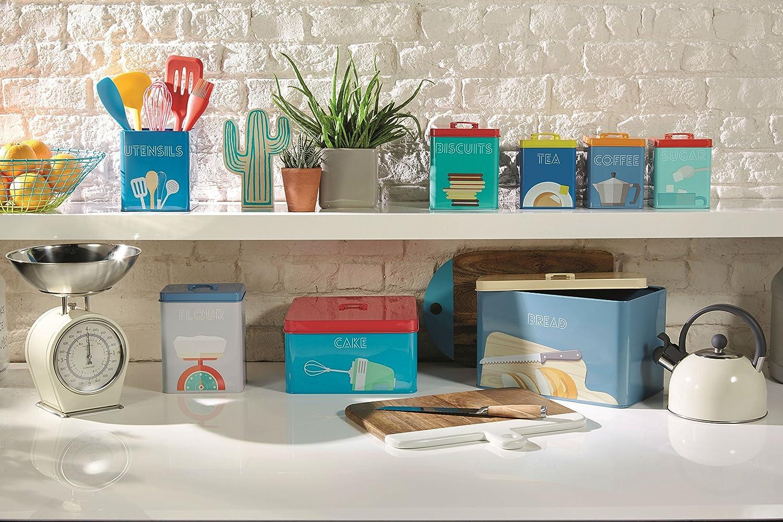 multicolor 16/x 11,5/x 20/cm Kitchencraft arte deco-style acero al carbono herm/ético recipiente de almacenamiento de harina