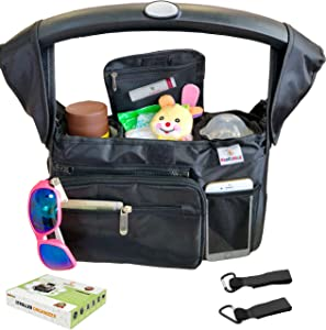 KooKiddos Baby Stroller Organizer with Cup Holders Insulated, Baby Diaper Storage Organizers and Shoulder Strap Organizer Bag for Accessories, Fits Uppababy, Doona, Britax, Baby Jogger, Bugaboo, BOB