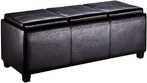 First Hill Junia Faux-Leather Storage Ottoman with 3 Serving Trays, Large – Espresso Bean Brown