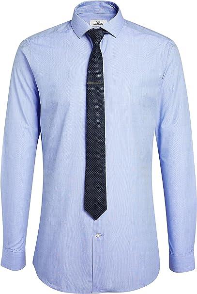 next Hombre Camisa De Corte Entallado con Corbata Y Alfiler Azul ...