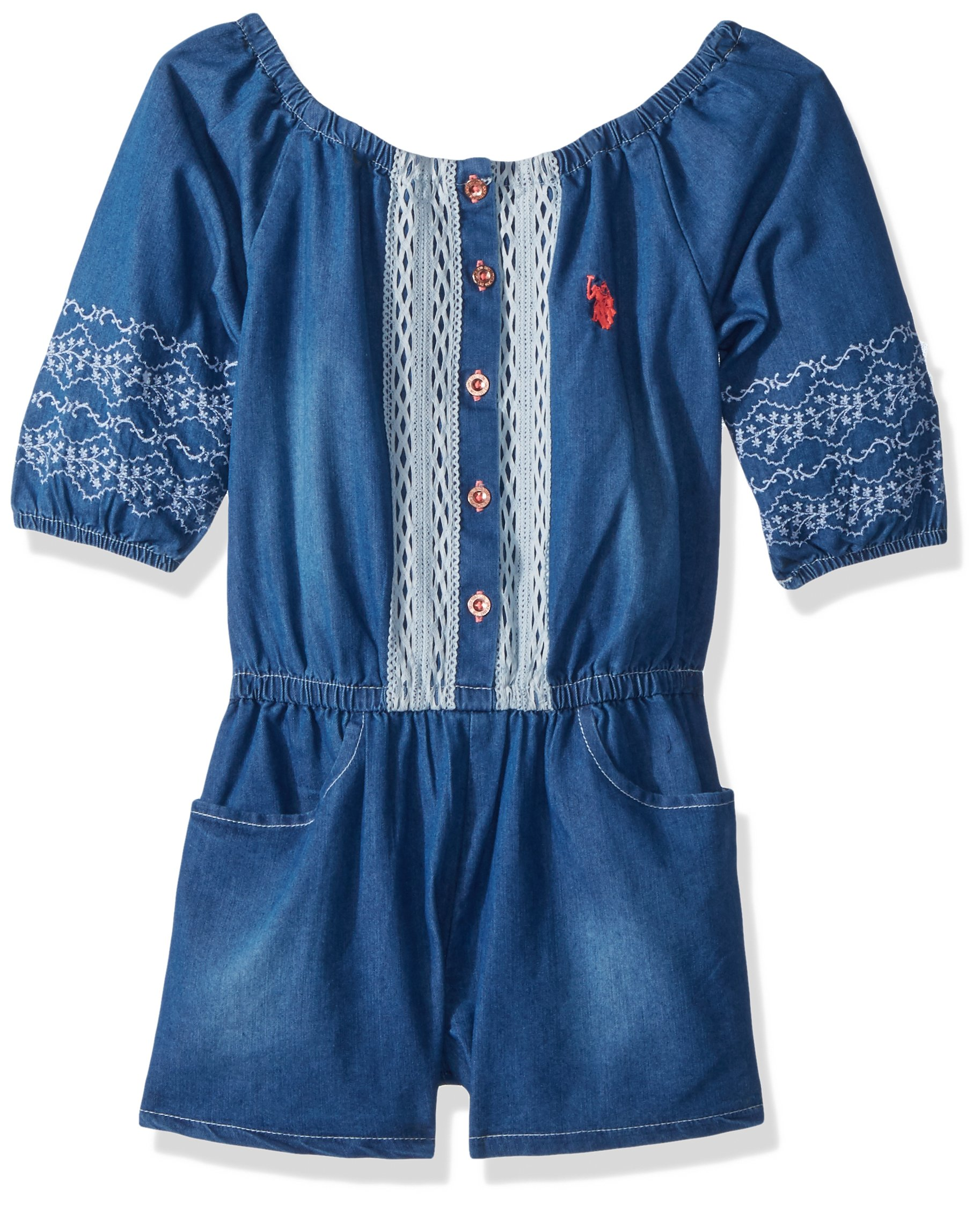 U.S. Polo Assn. Big Girls' Romper, Washed Cotton Lace Trim Medium Wash, 12