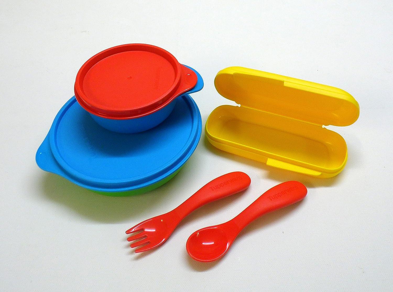 Tupperware Niños Cubiertos + Box Amarillo Rojo con Estuche Bebé Cubiertos + füttertasse + Plato Infantil: Amazon.es: Bebé