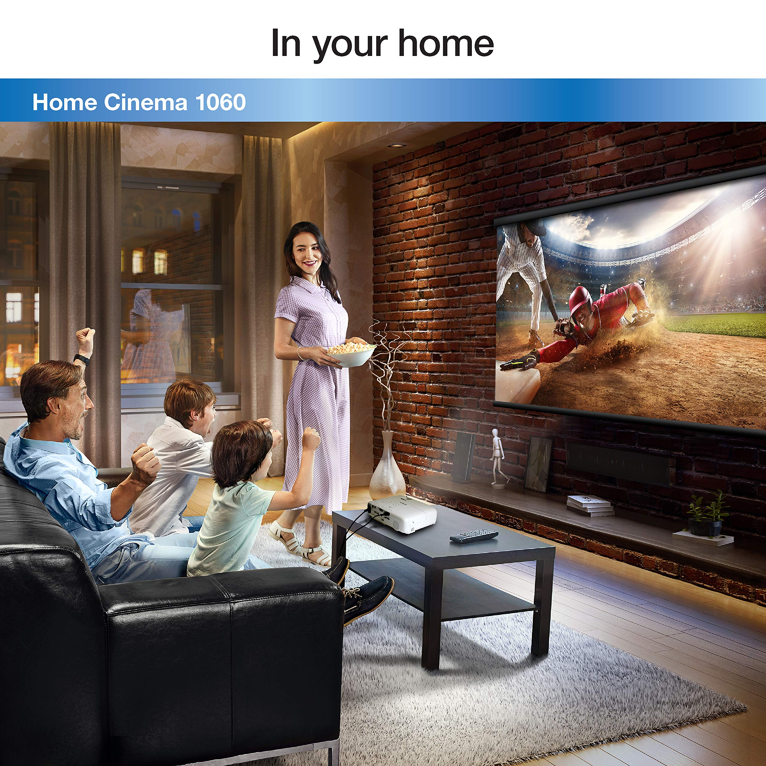 Epson Home Cinema 1060 Full HD 1080p 3,100 lumens Color Brightness (Color Light Output) 3,100 lumens White Brightness (White Light Output) 2X HDMI (1x MHL) Built-in Speakers 3LCD Projector (Renewed) by Epson (Image #5)