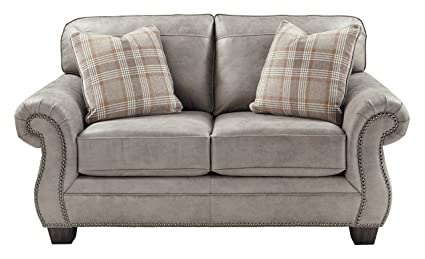 Miraculous Ashley Furniture Signature Design Olsberg Traditional Loveseat With Nailhead Trim Accent Pillows Included Steel Download Free Architecture Designs Scobabritishbridgeorg